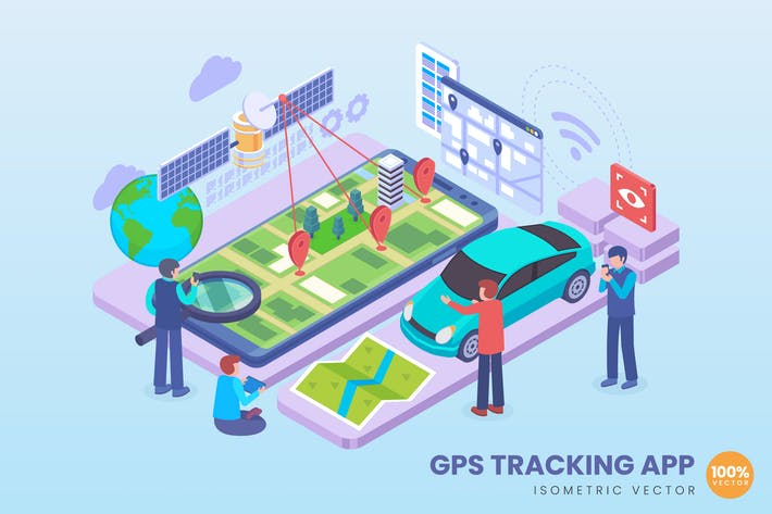 Isometrische GPS-Tracking-App Konzept-Illustration