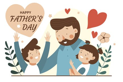 Happy Father Day - Flat Illustration