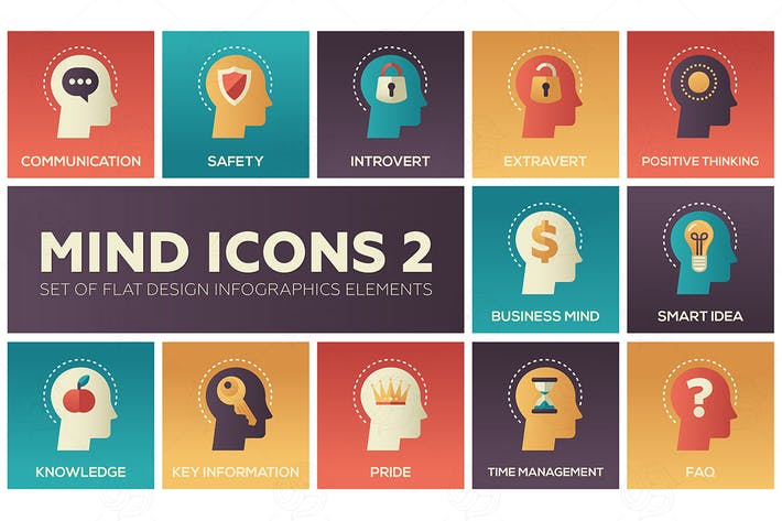Thumbnail for Mind icons - set of flat infographic elements