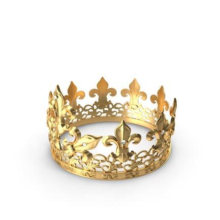 Goldene Königskrone mit Königslilie und Diamanten