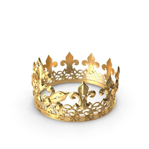 Golden King Crown with Royal Lily and Diamonds