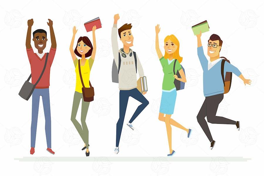 Glückliche Studenten - Zeichentrickfiguren