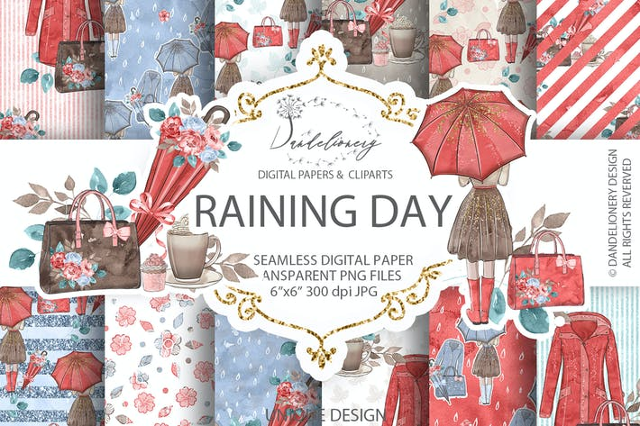 Thumbnail for Raining Day digital paper pack