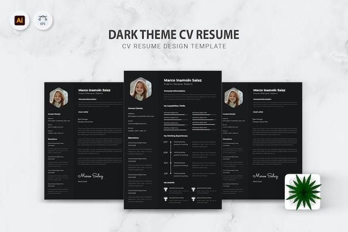 Thumbnail for Dark Theme CV Resume
