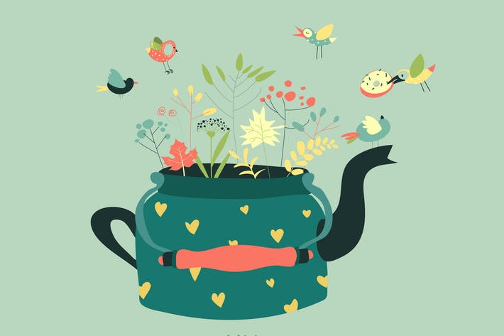 Thumbnail for Cute teapot with spring herbs and birds