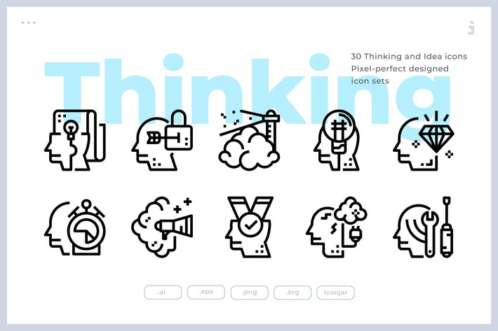 Thumbnail for 30 Thinking and Idea Icons