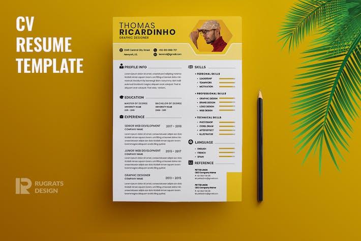 Thumbnail for Minimalist CV  Resume R39 Template