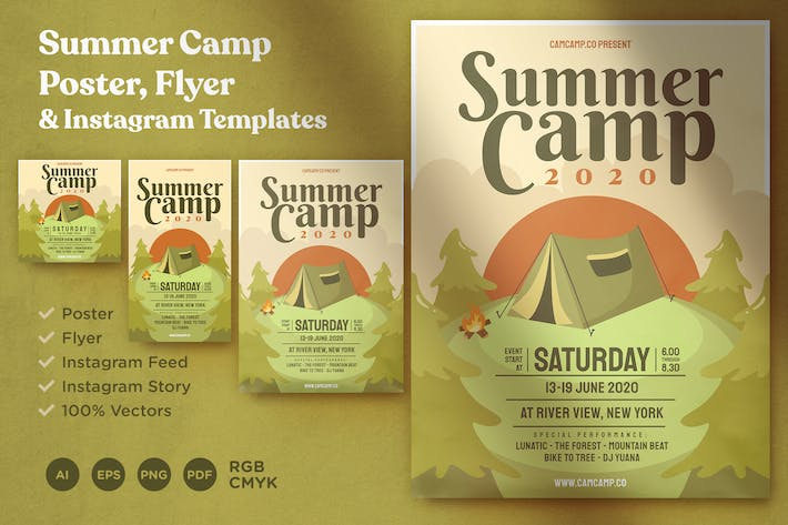 Thumbnail for Summer Camp Poster, Flyer and Instagram Template