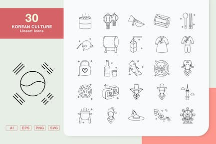 Korean Culture Lineart Icons