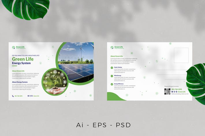 Thumbnail for Eco Green Life Postcard Design