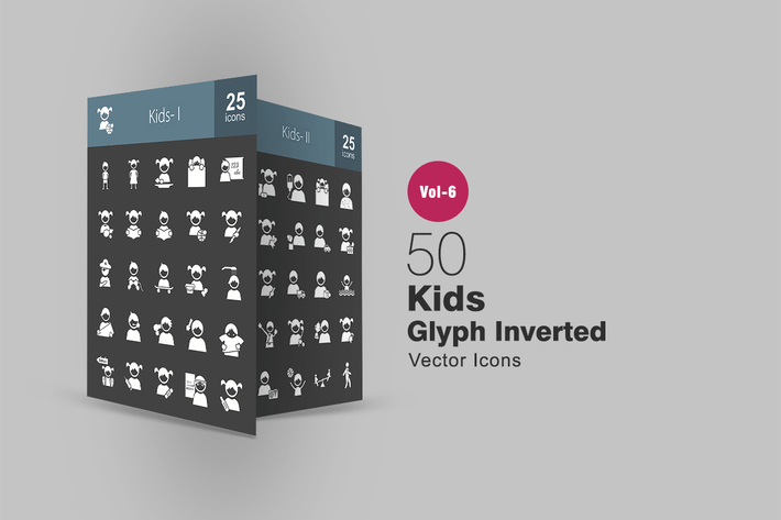Thumbnail for 50 Kids Glyph Inverted Icons