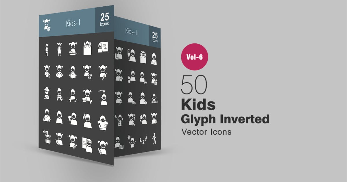 50 Kids Glyph Inverted Icons by Unknow