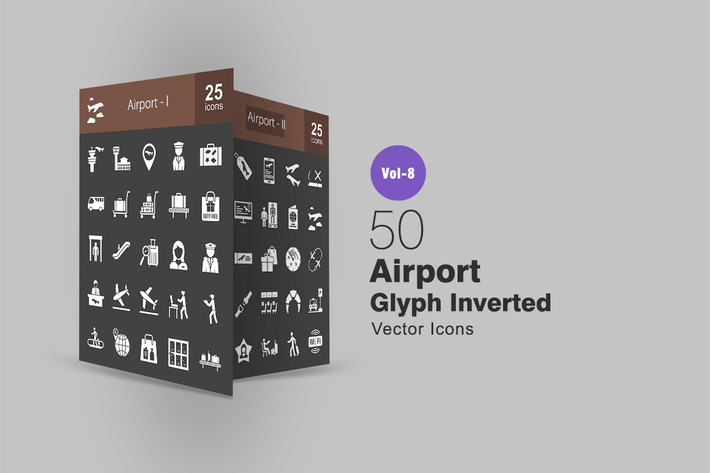 Thumbnail for 50 Airport Glyph Inverted Icons