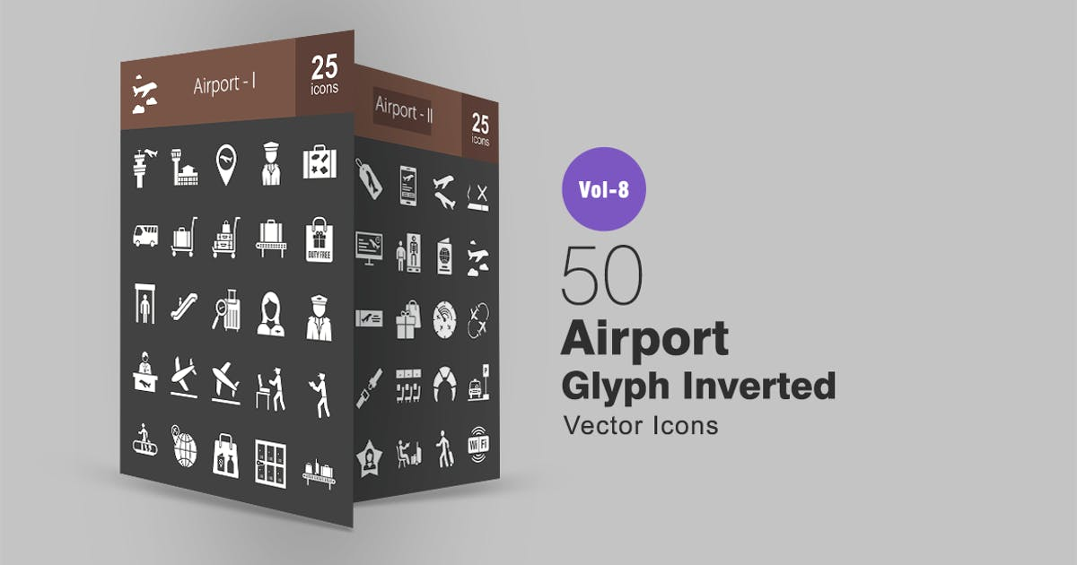 Download 50 Airport Glyph Inverted Icons by IconBunny