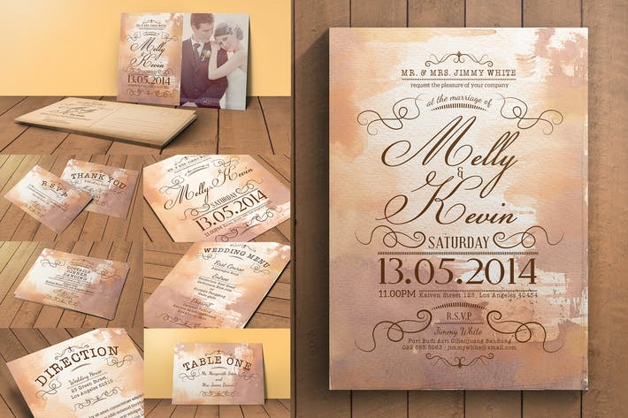 Thumbnail for Vintage Wedding Invitation Pack