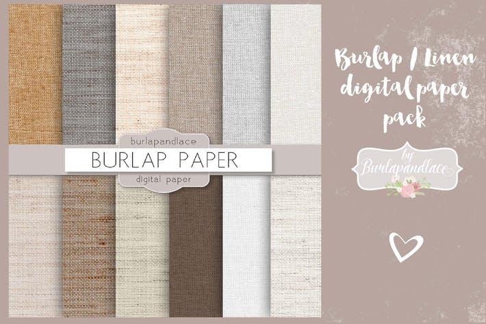 Thumbnail for Burlap/linen digital paper pack