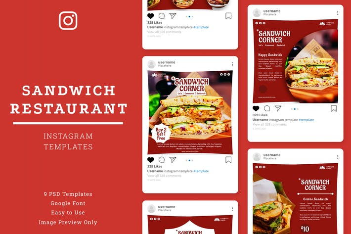 Sandwich-Restaurant-Instagram-BeitVorlage
