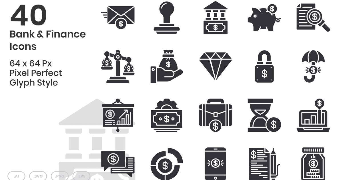 Download 40 Bank & Finance Icons Set - Glyph by kmgdesignid