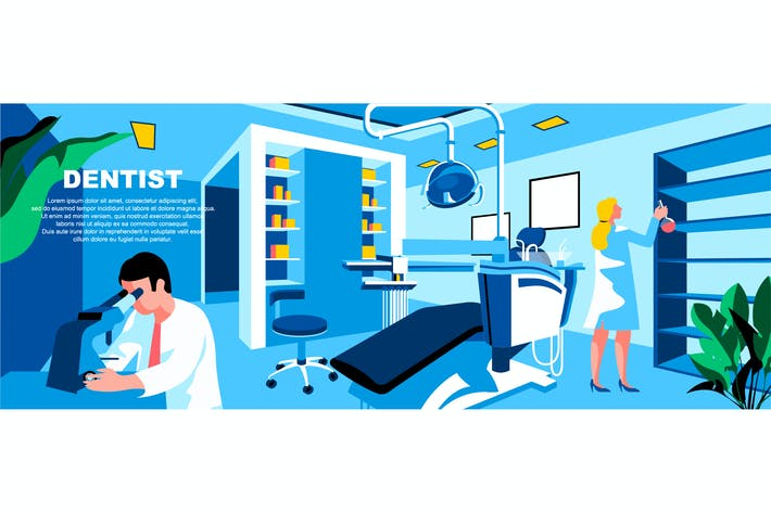 Cover Image For Dentist Flat Concept Landing Page Header