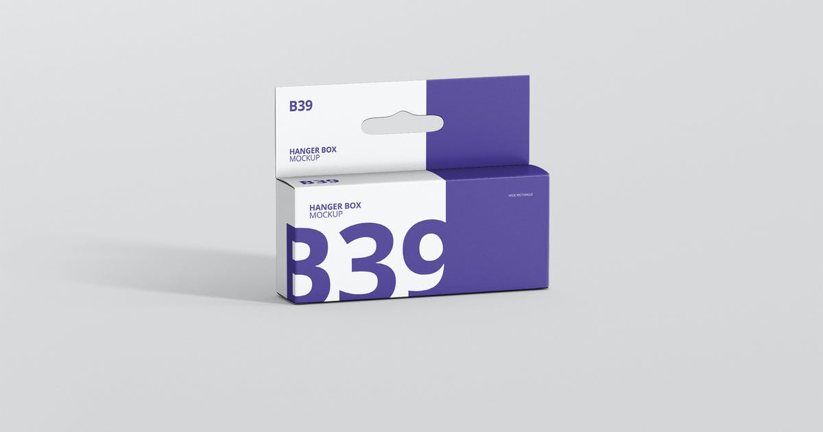 Download Box Mockup - Wide Small Rectangle with Hanger by visconbiz
