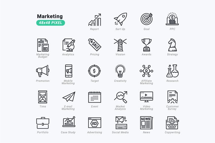 Thin Line Icons Set of Marketing