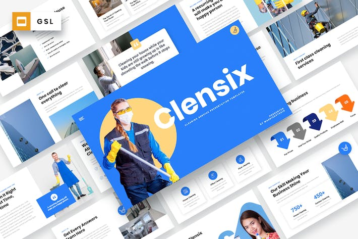 Thumbnail for CLENSIX - Cleaning Services Google Slides Template