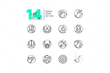 Zodiac signs - set of line design style icons