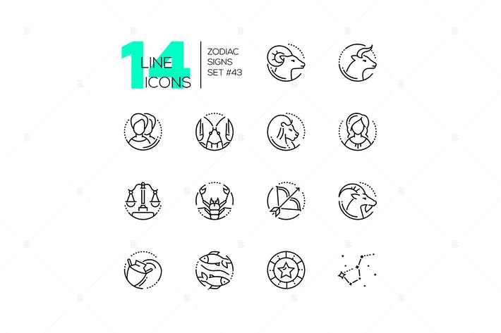 Thumbnail for Zodiac signs - set of line design style icons