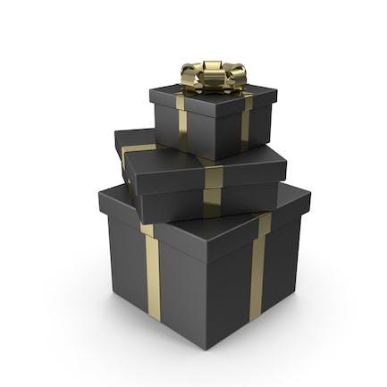 Baum schwarze Geschenkboxen mit goldener Schleife