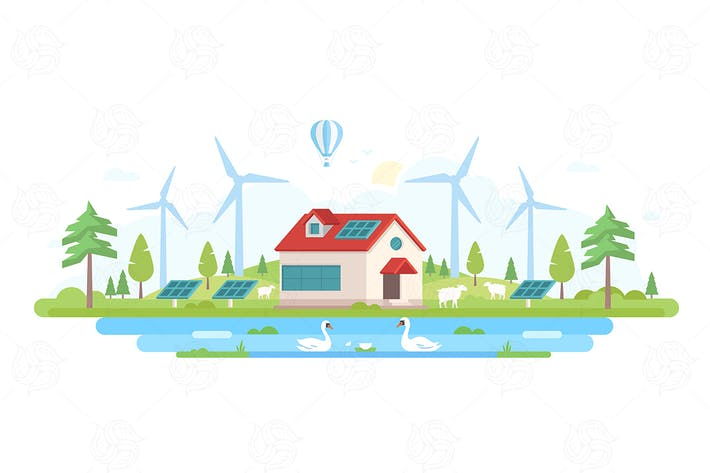 Cover Image For Eco-friendly farm - flat design style illustration
