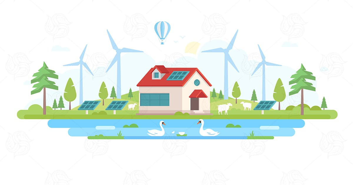 Download Eco-friendly farm - flat design style illustration by BoykoPictures