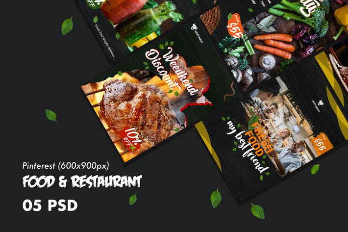 Thumbnail for Food & Restaurants Pinterest PSD Template