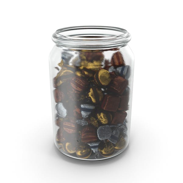 Jar with Wrapped Fancy Bonbons