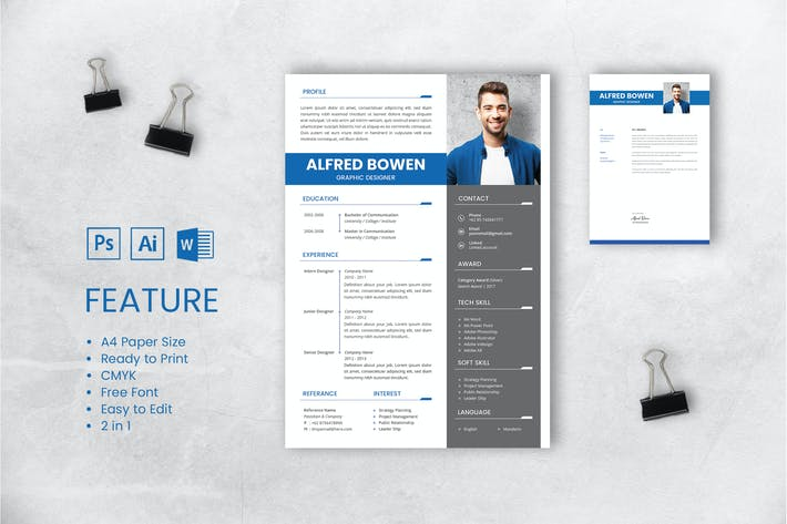 Thumbnail for Professional CV And Resume Template Bowen
