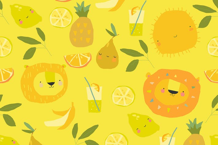 Vector Seamless pattern with Cartoon Fruits