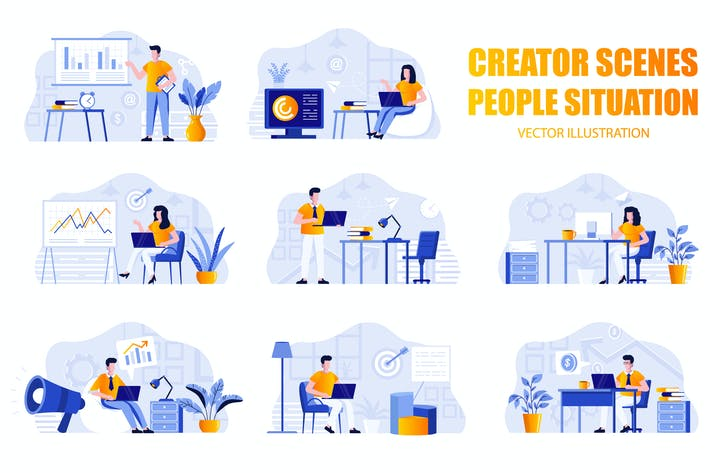 Thumbnail for Marketing People Character Scene Creator Kit