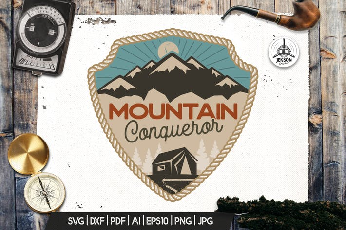 Thumbnail for Mountain Travel Logo / Vintage Camp Badge Patch