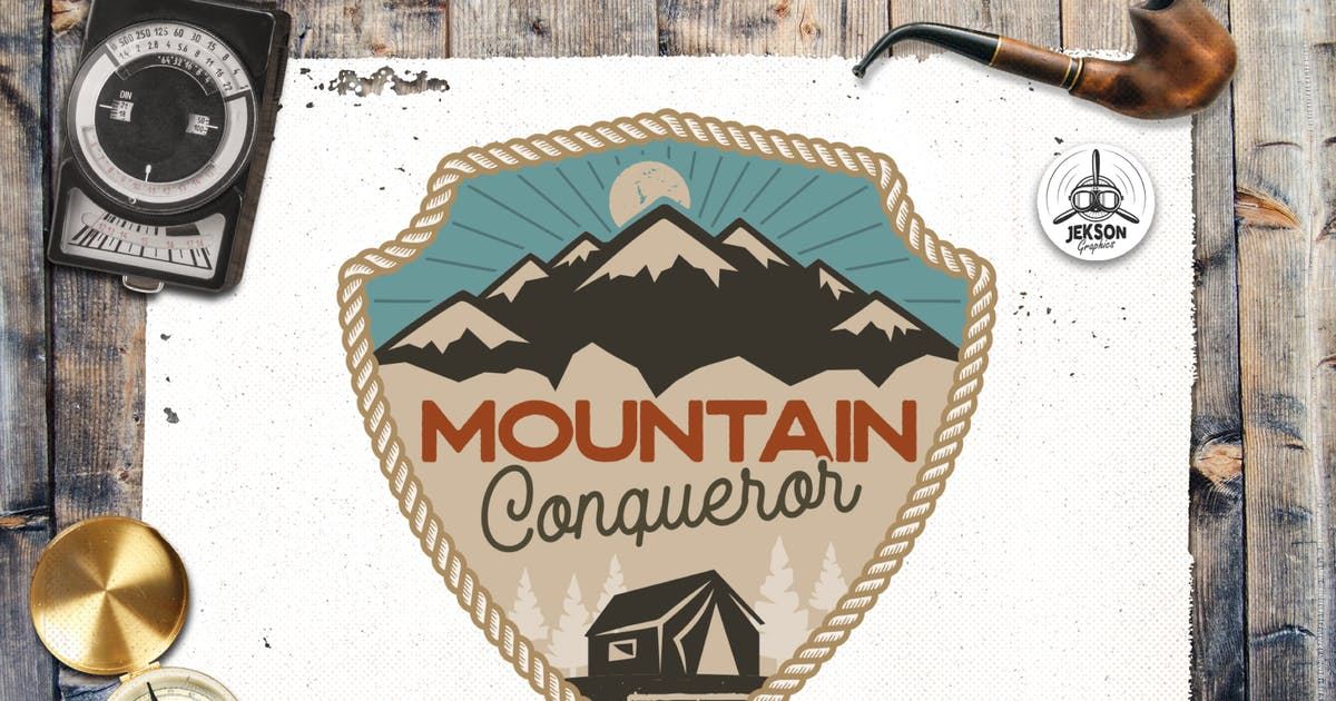 Download Mountain Travel Logo / Vintage Camp Badge Patch by JeksonJS