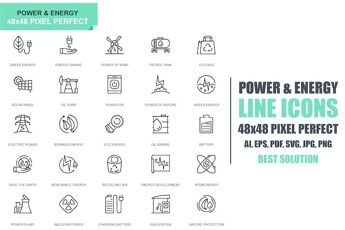 Cover Image For Simple Set Power Industry and Energy Line Icons