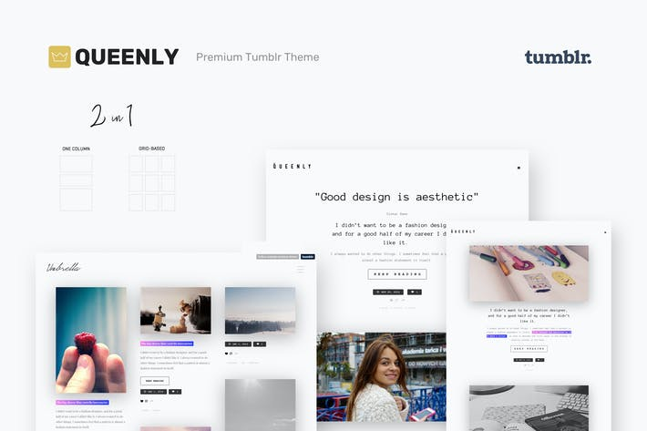 Thumbnail for Queenly | Grid & One Column Tumblr Themes