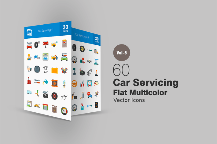 Thumbnail for 60 Car Servicing Flat Multicolor Icons