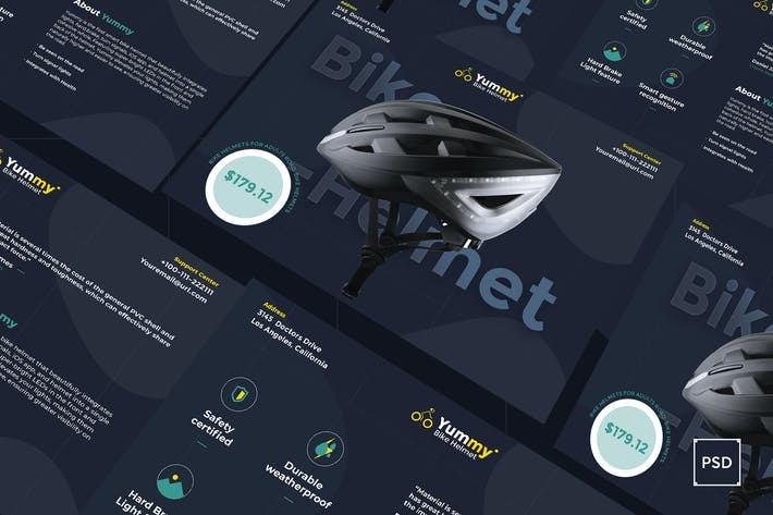 Thumbnail for Bike Helmet A5 Flyer PSD Template