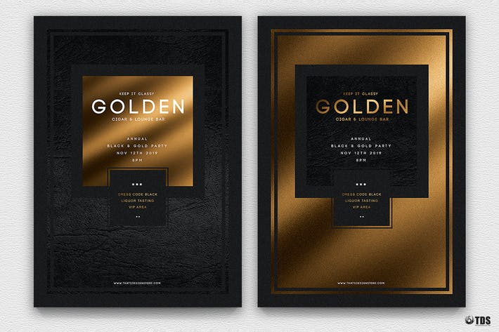 Thumbnail for Minimal Black and Gold Flyer Template V1