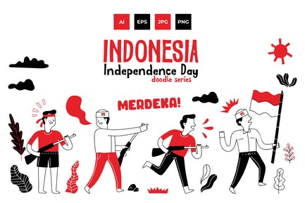 Indonesia independence doodle series 1