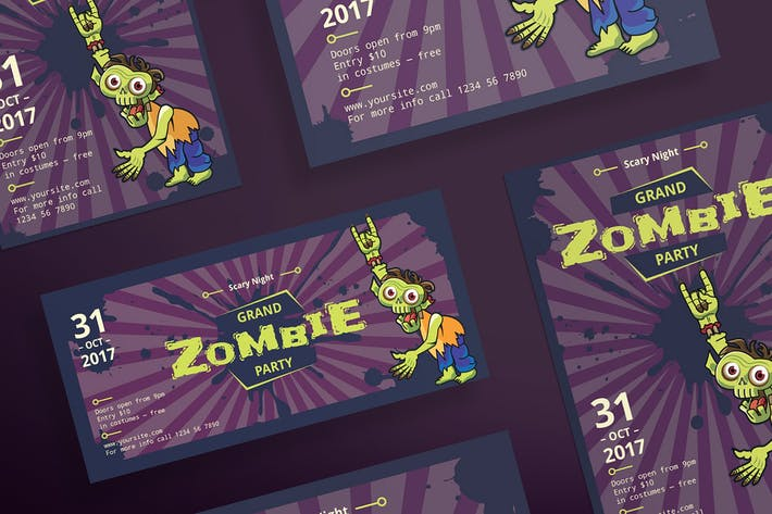 Thumbnail for Halloween Zombie Party Flyer and Poster Template