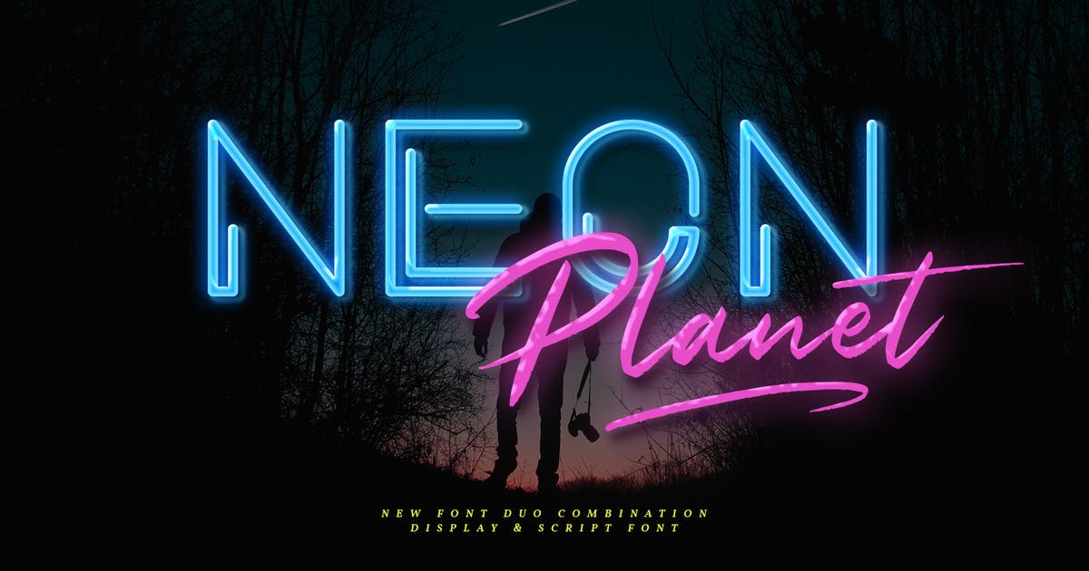 Download Neon Planet - Display Font Duo by Din-Studio