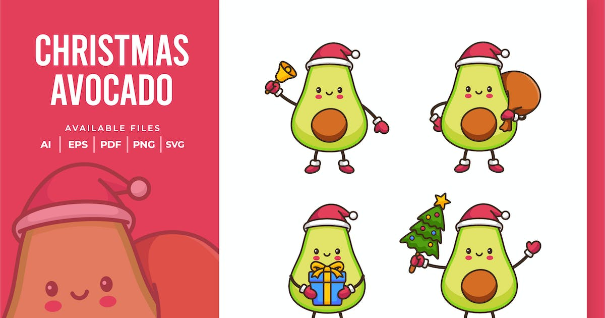 Download Christmas Avocado Character by yellowline_std