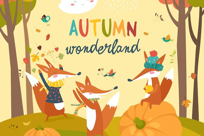 Thumbnail for Little foxes playing with leaves in autumn forest.