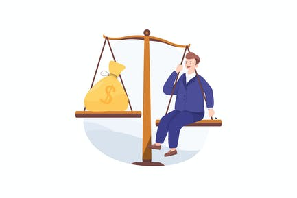 Businessman balance work and money on a scales.