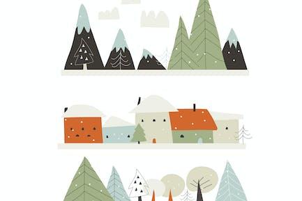 Dibujos animados paisaje de invierno con casas, montañas y